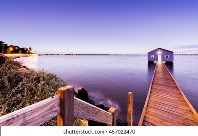 Sunset at The Crawley Edge Boatshed is a well-recognized and frequently photographed site in Western Australia. It is thought to have been originally constructed in the early 1930s., and  refurbished.