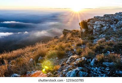Sunset in Crimean mountains, Mount Chatyr-dag, Crimea, beautiful landscape