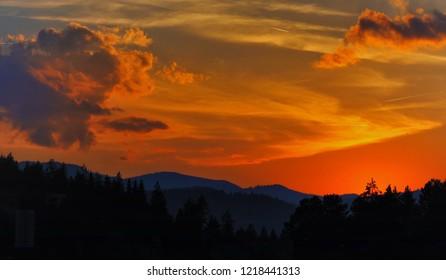 sunset in crimson tones.