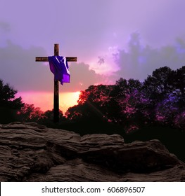 Sunset and Cross with Purple Garment