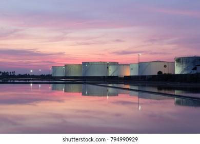 Sunset, crude oil tank