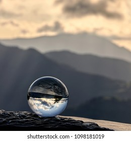 Sunset with crystal ball from Karakate over the mountains of Gipuzkoa and Bizkaia in the Basque Country
