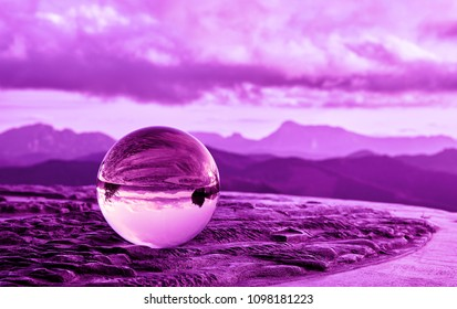 Sunset with crystal ball from Karakate over the mountains of Gipuzkoa and Bizkaia in the Basque Country, ultraviolet style