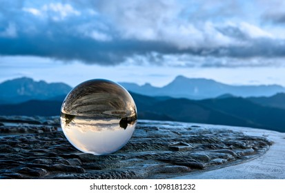 Sunset with crystal ball from Karakate over the mountains of Gipuzkoa and Bizkaia in the Basque Country, blue style