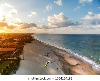 Sunset at Cumbuco beach, famous place near Fortaleza, Ceara, Brazil. Aerial view