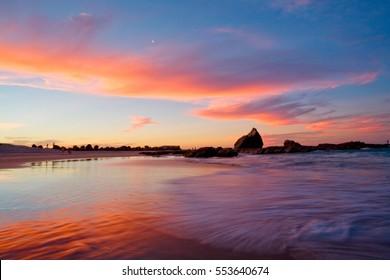 Sunset at Currumbin Beach on the Gold Coast, Australia