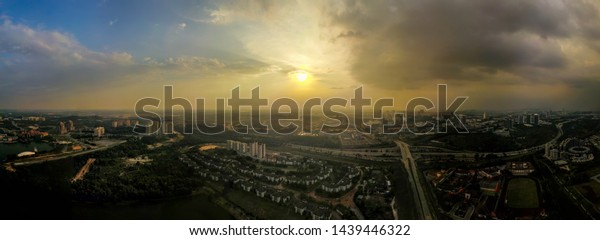 Sunset at Cyberjaya, Malaysia. Cyberjaya is also known as Silicon valley of Malaysia