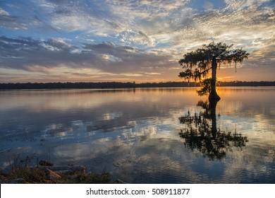 Sunset at Cypress Lake in St. Martin Parish Louisiana