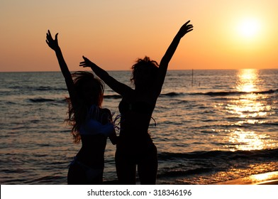 sunset and dance on the beach