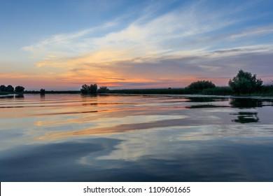 sunset in the Danube Delta, Romania, Europe