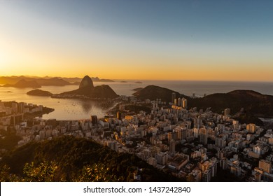 Sunset or Dawn in the city of Rio de Janeiro, RJ, Guanabara Bay and Sugar Loaf!  observatory Dona Marta