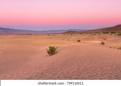 Sunset in Death Valley National Park at mesquite sand dunes