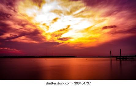 Sunset at the Deck New Bern North Carolina