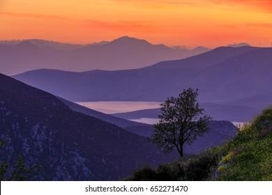 Sunset in Delphi, Greece