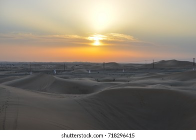 Sunset, desert of Abu Dhabi, UAE