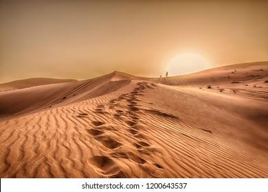 Sunset in the desert in Dubai