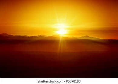 Sunset in Desert - Egyptian Rocky Mountains