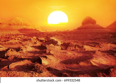 Sunset in the desert. Iran. Persia.