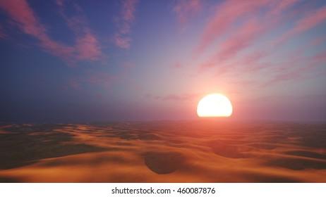 Sunset desert landscape with sandy african dunes silhouettes against fantastic big setting sun background. 3D illustration.