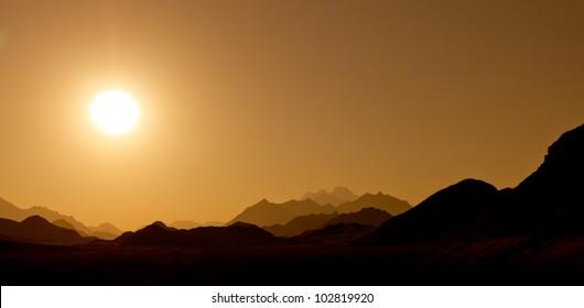 Sunset in the desert mountains