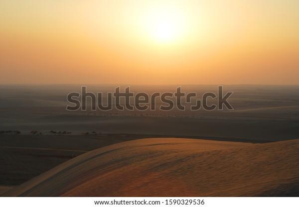 Sunset in desert, Qatar, United Arab Emirates