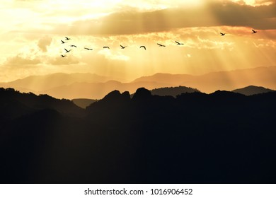 Sunset in the distant valley. It is beautiful and imaginative.