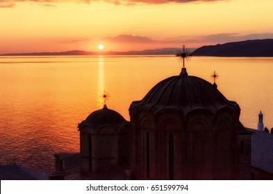 Sunset at Dochiariou Monastery, Athos Peninsula, Mount Athos, Chalkidiki, Greece