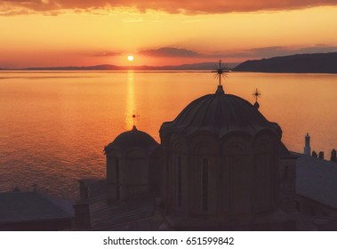 Sunset at Dochiariou Monastery, Athos Peninsula, Mount Athos, Chalkidiki, Greece