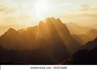 sunset Doi luang chiang-dao Chiangmai Thailand