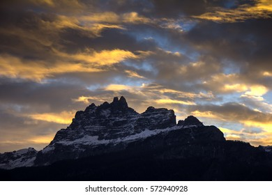 Sunset in Dolomites, mountains around famous ski resorts in Cortina D' Ampezzo