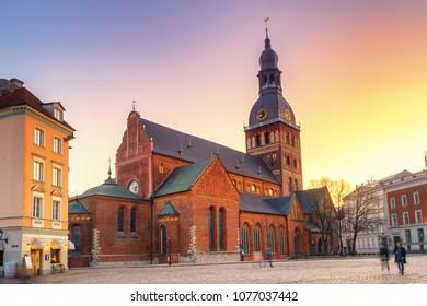 Sunset at Dome Square of Riga, Latvia