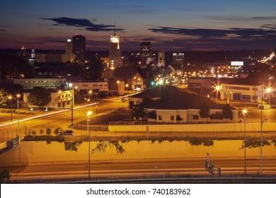 Sunset in downtown Akron. Akron, Ohio, USA.