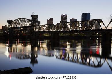 Sunset in downtown of Little Rock, Arkansas, USA