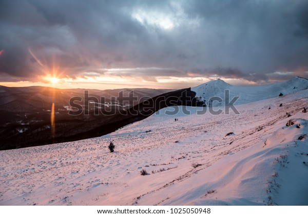 Sunset and dramatic clouds over Bieszczady Moutains