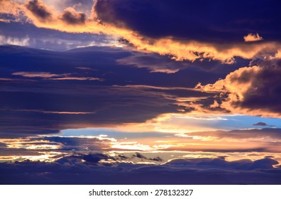 sunset dramatic clouds with sunlight - weather background