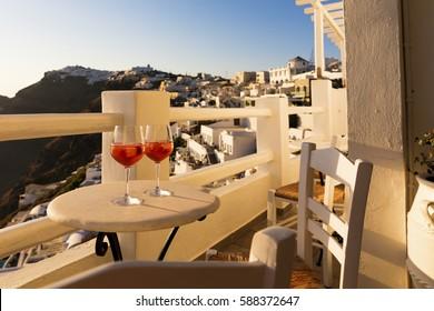 Sunset drinks in Santorini, Greece
