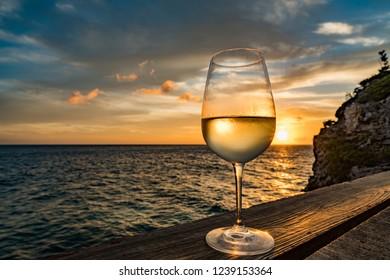 Sunset Drinks Views around Curacao a small Caribbean island
