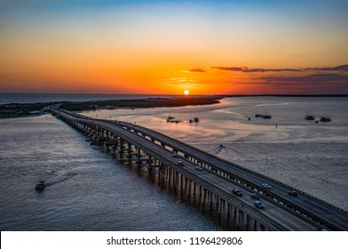 Sunset drone aerial over Destin Florida FL