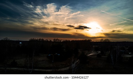 Sunset drone landscape with dramatic clouds