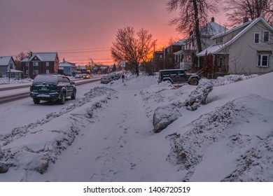 Sunset in Duluth, Minnesota during Winter
