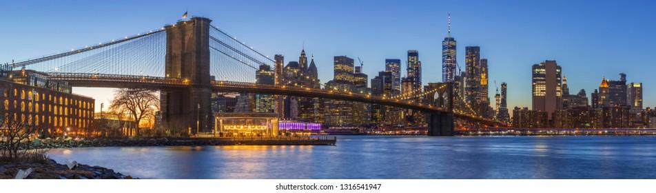 Sunset at Dumbo Brooklyn Bridge Park.