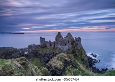 Sunset at Dunluce Castle on the north coast of Ireland