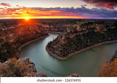 Sunset at the Duraton Canyon Natural Park, in Sepulveda, Spain.