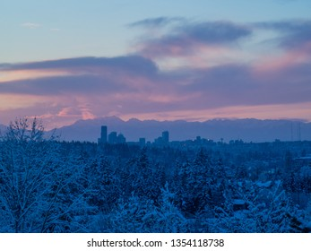 Sunset during snowpocalypse in February in Seattle,WA