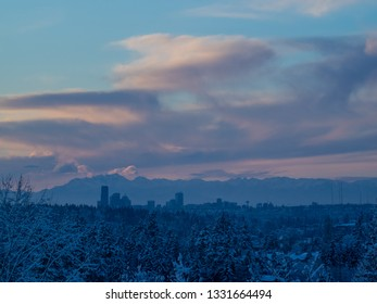 Sunset during snowpocalypse in Seattle,WA