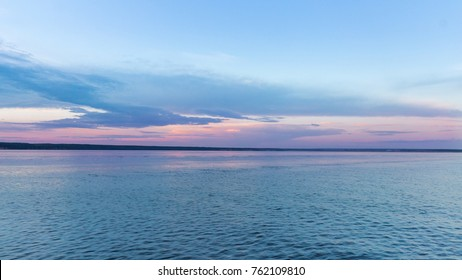 Sunset and dusk over the Volga River, Russia