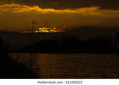 Sunset at a dutch canal
