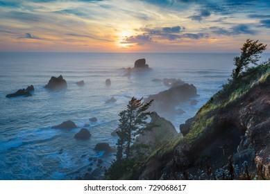 Sunset at Ecola State Park near Seaside, Oregon, USA