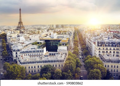 Sunset Eiffel tower and Paris city view form Montparnasse. Sunset romantic background. Eiffel Tower from Champ de Mars, Paris, France.