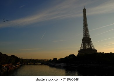 Sunset of the Eiffel Tower in Paris, France